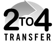 2 to 4 transfer guides, logo.